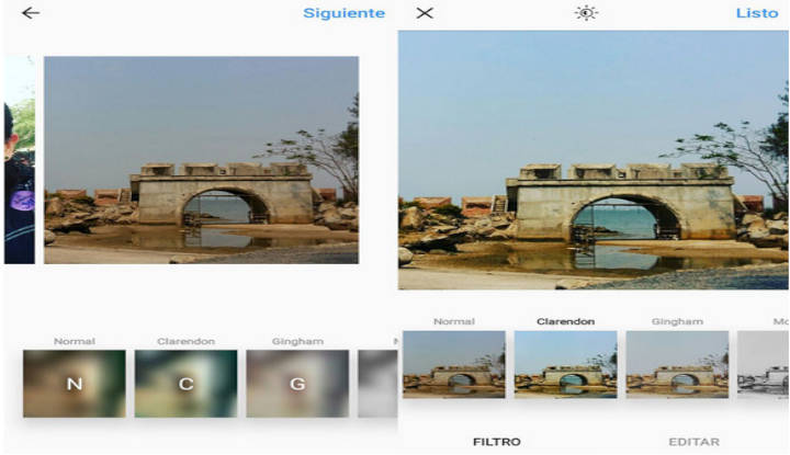 Puedes elegir diferentes filtros y opciones para editar.