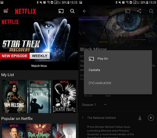 Netflix en su integración con Chromecast